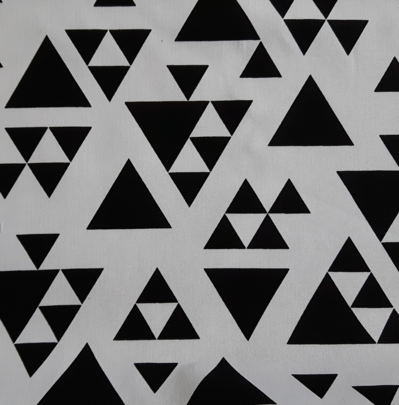 Stof katoen triangel zwart/wit