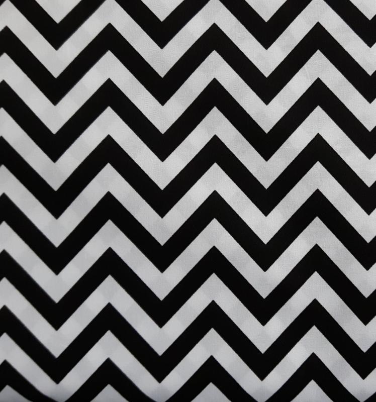 Stof katoen zigzag zwart/wit