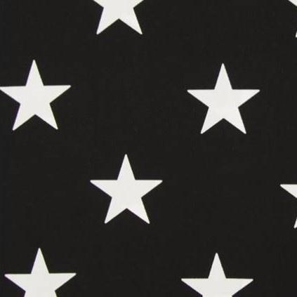 Stof katoen grote ster zwart/wit