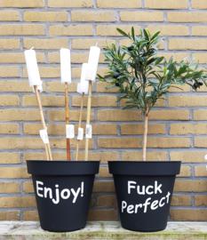Bloempot met 5 tuinfakkels naar keuze AANBIEDING!