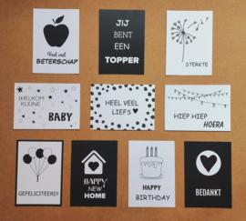 Set van 10 zwart/witte kaarten