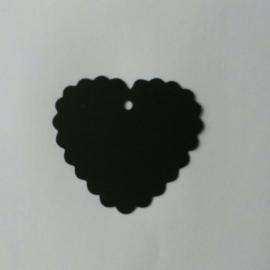 Hartje karton zwart per 25 stuks