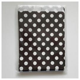 Cadeauzakje zwart wit gestipt per 5 stuks
