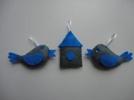 Vogeltje grijs/blauw