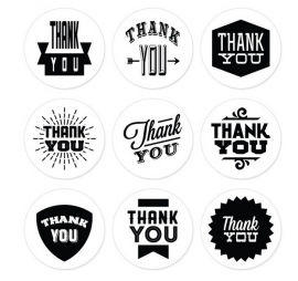Sticker Thank you zwart wit prints vel van 9 stuks