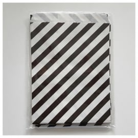 Cadeauzakje zwart wit gestreept per 5 stuks