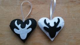 Setje van 4 hartjes zwart wit