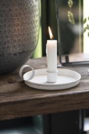 Kandelaar wit met handvat voor dinerkaars