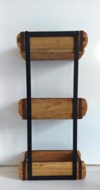 Wandrek etagère hout metaal 3 lagen
