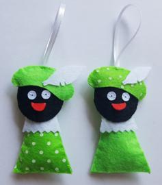 Zwarte Pietjes limegroen 2 stuks