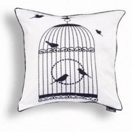 Kussenhoes vogelkooi zwart/wit 1