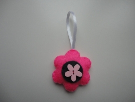 Bloemetje grijs/roze