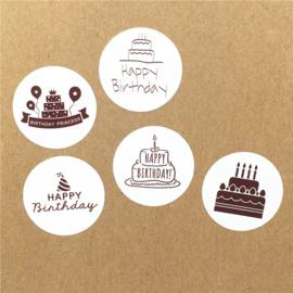 Stickers Happy birthday 5 stuks zwart wit