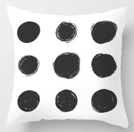 Kussenhoes gestipt zwart/wit 4