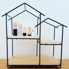 Poppenhuis zwart + 5 peg dolls  NOG  1 OP VOORRAAD!