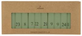 Advent kaarsen olijfgroen/grijs 1-24