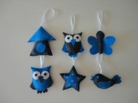Vogelhuisje grijs/blauw