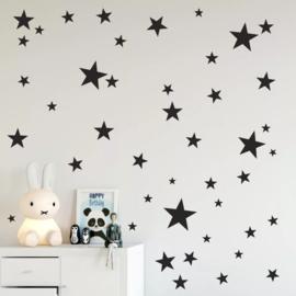 Muurstickers sterren zwart 150 stuks