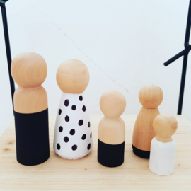 Peg doll man 6,5cm naturel of zwart/wit