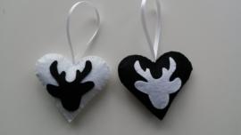 Hartjes zwart wit met hertenkop 2 stuks