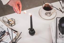 Zwart gedraaide kaarsen set van 4