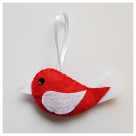 Vogel rood/wit