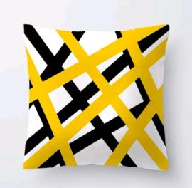 Kussenhoes geometrisch zwart wit geel streep