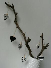 Hartjes klei zwart/wit setje van 6