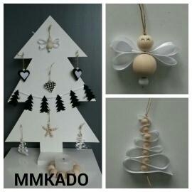Kerstengel hout wit