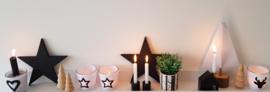Waxinehouder zwart/wit ster