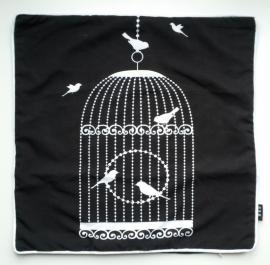 Kussenhoes vogelkooi zwart/wit 2
