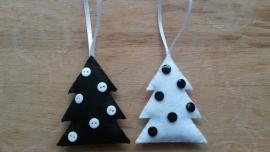 Kerstboom zwart wit 2 stuks