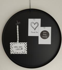 Magneetbord dienblad zwart rond 50 cm
