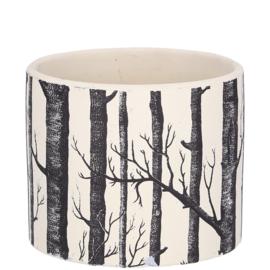 Bloempot waxinehouder zwart wit bomen 12cm