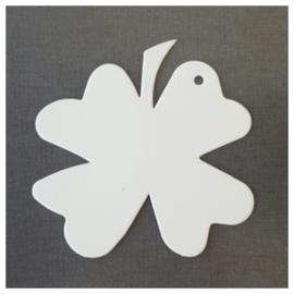 Klavertje vier karton wit per 25 stuks