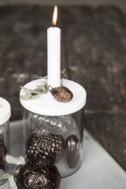 Glas met kandelaar metaal wit  Ib Laursen