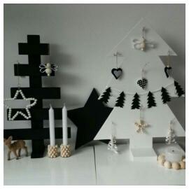 Woonslinger kerstboompjes zwart vilt