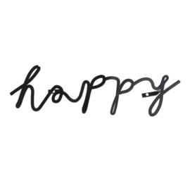 Happy in letters van zwart metaal