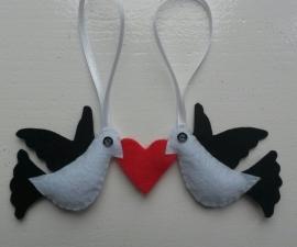Liefdesduifjes zwart/wit/rood