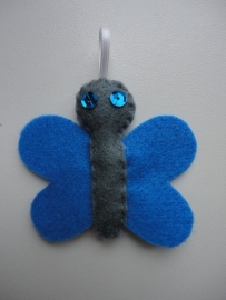 Vlinder grijs/blauw