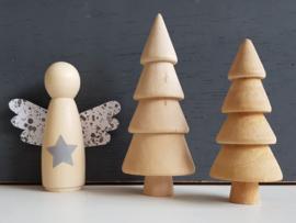 Kerstengel hout ster