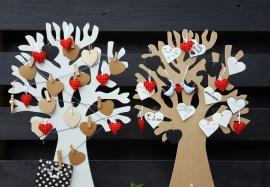 Hartjes vilt rood wit setje van 5 ter decoratie
