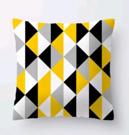 Kussenhoes geometrisch zwart wit geel driehoek