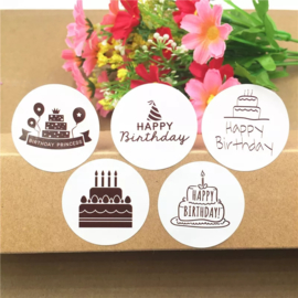Stickers Happy birthday 5 stuks zwart wit