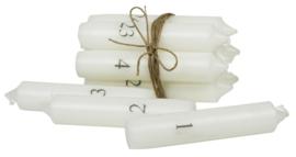Kandelaar glas / zink + set Adventskaarsen wit / grijs