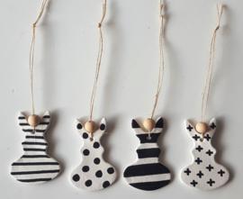 Paashaasjes zwart/wit set van 4 stuks