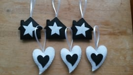 Hartje + ster zwart wit gestipt