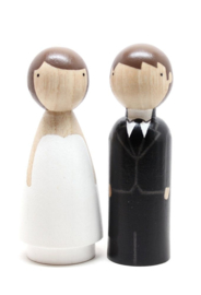 Peg doll vrouw 6,5cm naturel of zwart/wit