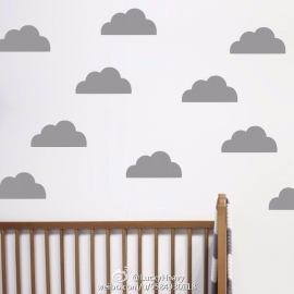 Muurstickers wolkjes zwart 48 stuks