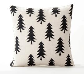 Kussenhoes kerstboompjes ecru/zwart